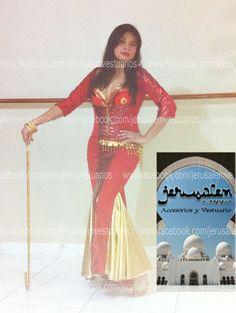 Tùnica Saidi en lycra y tela metálica rojo y oro. (bellydance, danza del vientre, vestuario, costume, custom made)