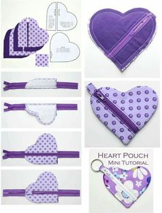 Trousse en coeur - Abd My Site Small Sewing Projects, Sewing Projects For Beginners, Sewing Tutorials, Bag Patterns To Sew, Sewing Patterns, Fabric Crafts, Sewing Crafts, Diy Couture, Fabric Bags