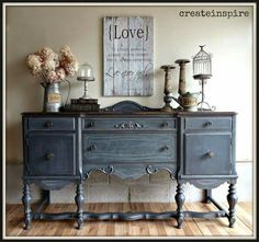 Love this dresser treatment and the colour: might have to try it