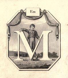 """""""Em"""" (M) ~ Vintage Children's ABC Flash Card"""