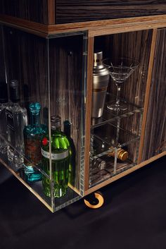 Quench Gin Trolley - serve drinks in style with this luxurious drinks trolley. Bar Trolley, Drinks Trolley, Bar Set Up, Birch Ply, Wine Chiller, Bars For Home, Glass Door, Gin, Liquor Cabinet