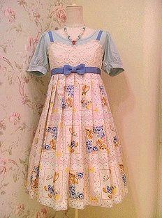 Emily Temple Cute / Jumper Skirt / Lace & Rabbit Handkerchief Print Sleeveless OP