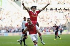 Ji Sung Park and Memphins Depay after Park scoring the 4-0 in the match against AJAX Amsterdam