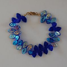 Double Sided Czech Pressed Glass Leaf Bracelet by JewelryJeanne, $28.00