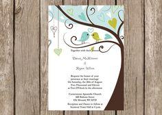 Love Birds in a Tree Wedding Invitation customizable via Etsy
