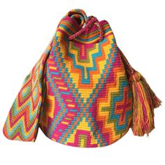 LARGE Double Thread Wayuu Mochila Bag made in the desert of La Guajira, Colombia with love | RETAIL + WHOLESALE | Handmade and Fair Trade Wayuu Mochila Bags LOMBIA & CO. | www.LombiaAndCo.com Tapestry Crochet Patterns, Tapestry Bag, Tribal Patterns, Crochet Purses, Bag Making, Knit Crochet, Bohemian Bag, Poufs, Carolina Herrera