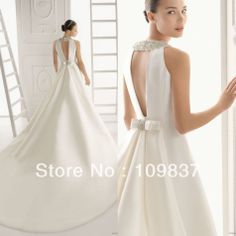 2013 Modest Fashion Simple Sleeveless Beaded A Line Plain Dyed Satin Long Train Elegant Wedding Dress-in Wedding Dresses from Apparel...