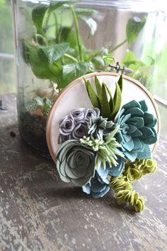 Felt succulent hoop garden from 'Round the Rosies https://www.etsy.com/listing/249750574/succulent-hanging-garden-hoop-art
