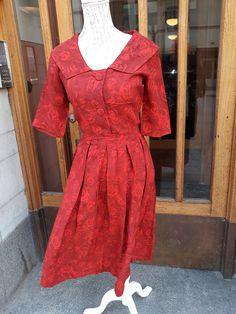 Vintage bomullsklänning från 50 talet röd.