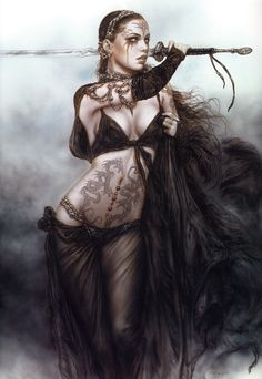 ✯ Artist Luis Royo ✯ Even though she's brandishing a sword she still looks decorated & owned to me.