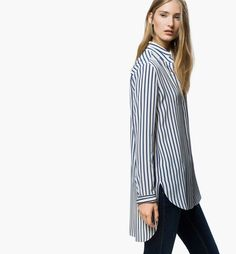CAMISA LARGA RAYAS Outfits Jeans, Casual Outfits, Casual Chic, Shirt Blouses, Shirts, Style Me, Stylish, Womens Fashion, Clothes