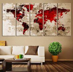 Canvas Wall Art Blood Red Watercolor World door ExtraLargeWallArt