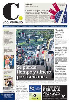 Portada de El Colombiano para el viernes 25 de julio de 2014