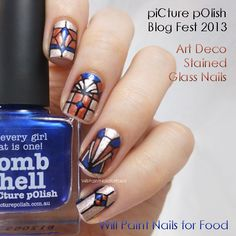 piCture pOlish Blog Fest 2013: Art Deco Stained Glass Nails + Tutorial