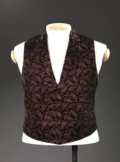 """aneacostumes: """"Patterned male waistcoats from the 19th century • Pink: 1845-55, silk with velvet details (OK-11087) • Blue: 1840-60, silk satin (OK-11625) • White: 1820-40, silk satin embroidered with..."""