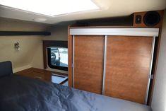 Lance 975 cabover wardrobe no mirror Small Truck Camper, Enclosed Trailer Camper, Van Conversion Interior, Dually Trucks, Tiny Living, Campervan, Camping Hacks, Motorhome, Magazine