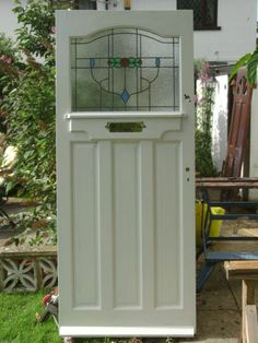 Stained Glass Panels Old English Doors. Old Original Stained Glass Internal Door . Oak Front Door For Sale At Finding Best Ideas for your Building Anything Front Door Porch, Porch Doors, Glass Front Door, Entrance Doors, House Front, House Doors, Doorway, Green Front Doors, Double Front Doors