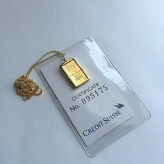 Pure Gold 1 Gram Statue Of Liberty Credit Suisse Gold Bar Pendant Necklace Ready To Bar Pendant Necklace Gold Bar Pendant