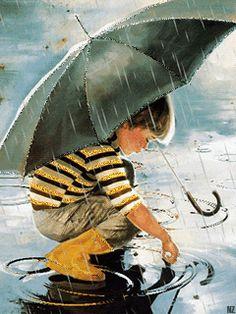 jugando con la lluvia
