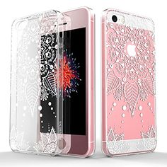 newistore.com 2016 05 30 iphone-se-clear-case-iphone-5s-case-roybens-totem-series-design-white-lace-floral-rubber-soft-clear-back-case-cover-rose-gold-tempered-glass-screen-protector-for-iphone-se-5s-5