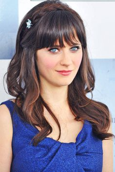 Zooey Deschanel's clipped bangs. See it and 23 other wedding-ready hairstyles.