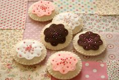 Felt cookies with bead sprinkles.  Make for Kinley's play kitchen.  nanaCompany.