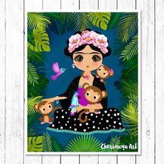 Frida Kahlo Wall Art Frida Kahlo Poster Frida Art Print Mexican Folk Art Poster Girls Wall Art Whims Toddler Gifts, Kids Gifts, Frida Kahlo Birthday, Kahlo Paintings, Frida Art, Baby Posters, Mexican Folk Art, Whimsical Art, Cute Illustration