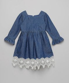Look at this #zulilyfind! Smocked or Not Vintage Lace Denim Dress - Infant, Toddler & Girls by Smocked or Not #zulilyfinds