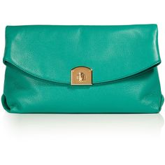 SERGIO ROSSI Emerald Green Leather Clutch found on Polyvore