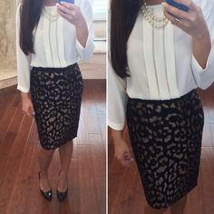 """Work outfit: bronze animal jacquard pencil skirt, front pleat 3/4"""" sleeve white blouse, black pumps and two strand pearl necklace - ootd - work outfit // StylishPetite.com"""