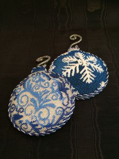 Beaded blue needlepoint ornaments ~ Canvas by The Collection
