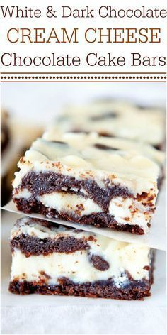 White and Dark Chocolate Cream Cheese Chocolate Cake Bars - Chocolate cake with chocolate chips, white chocolate chips, and filled with cream cheese! Fast, easy, and foolproof!