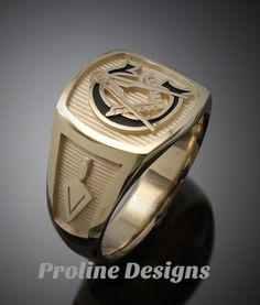 Moral Compass Masonic Ring in Gold ~ Handmade ~ style - ProLine Designs Masonic Jewelry, Men's Jewelry Rings, Jewellery, Masonic Symbols, Freemasonry, Engraved Rings, Beautiful Gift Boxes, Compass, Solid Gold