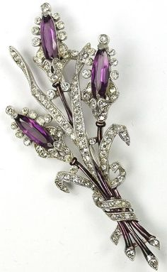 Trifari 'Alfred Philippe' Pave Enamel and Triple Amethyst Floral Spray Pin 1941 Amethyst Jewelry, Purple Jewelry, Rhinestone Jewelry, Vintage Rhinestone, Jewelry Accessories, Art Deco Jewelry, Fine Jewelry, Diy Jewelry Gifts, Handmade Jewelry