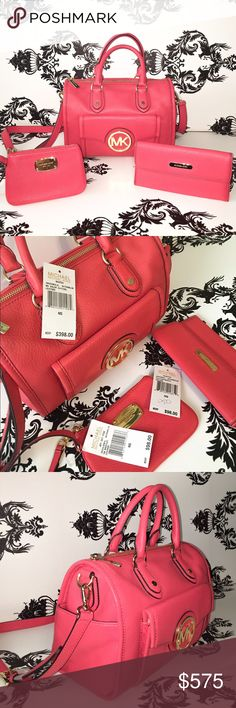 🍀 NWT! 🍉 Michael Kors 🍉 Leather 3 Piece Set! Absolutely Gorgeous! 100% AUTHENTIC! Michael Kors 3 piece Watermelon Leather Set! 1 Wristlet, 1 Wallet & 1 Medium Satchel W/removable strap! Front Flap Snap Closure w/pocket & Michael Kors emblem,Removable Shoulder strap, Flat Bottom with metal hardware feet, Two outside side pockets, 4 inside pockets, also a back wall zipper pocket with a pink leather zipper pull, Michael Kors Logo Signature Lining,  NWT! $398 $98 & $98 = $594 before taxes…