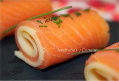 Azafranes y Canelas: Rollitos de salmón y queso Gouda