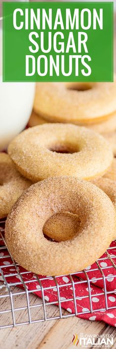 These cinnamon sugar donuts are soft and warm from the oven with just the right amount of sweetness. Try this baked donuts recipe today! Baked Donut Recipes, Baked Doughnuts, Fun Easy Recipes, Real Food Recipes, Cooking Recipes, Sweet Desserts, Delicious Desserts, Yummy Food, Cream Bread Recipe