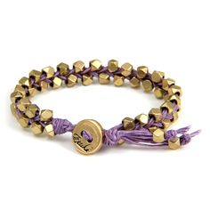 Double Gold Faceted Bead Bracelet on Lavender Waxed Linen