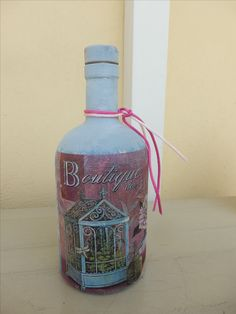 olive bottle chalk painted and decoupaged