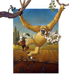 "Gibbons Garlic Garden - Letter G - ""Gibbon's gift was garlic, which he gathered from his garden in a golden goblet."""