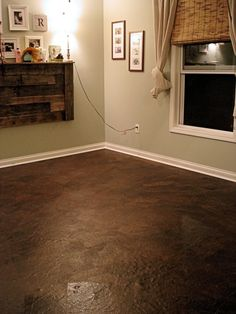 Brown Crafting Paper Flooring.  Inexpensive, Simple to do, and Beautiful!  (Direction how to, here..)