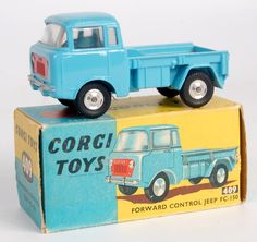 Lot 1752 - Corgi Toys, 409 forward control Jeep, light blue body with red grille, shaped hubs, in the original