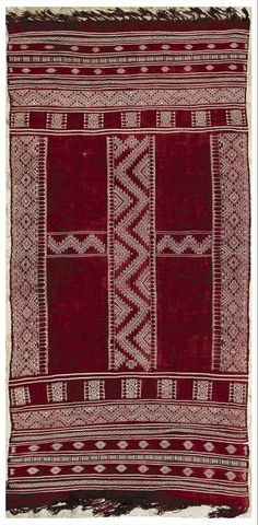 """Africa   Berber woman's shawl ~ """"Bakhnug"""" ~ from the Ghomrassen region of Tunisia   Woven from Wool   2nd quarter of the 20th century"""