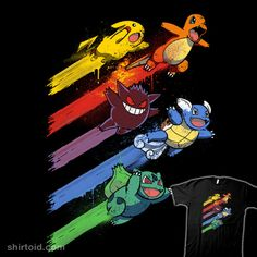 Pokésquad | Shirtoid #anime #bulbasaur #charmander #drsimonbutler #gaming #gengar #nintendo #pikachu #pokemon #pokemongo #tvshow #videogame #wartortle