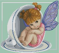 a good hiding place Fantasy Cross Stitch, Cross Stitch Fairy, Cross Stitch Angels, Cross Stitch For Kids, Cute Cross Stitch, Cross Stitch Designs, Cross Stitch Patterns, Cross Stitching, Cross Stitch Embroidery