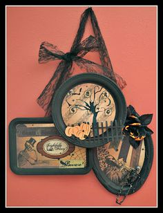 "dollar store ""silver"" trays revamped Scrap Playground: October Moxxie Blog Hop...All Hallow's Eve"