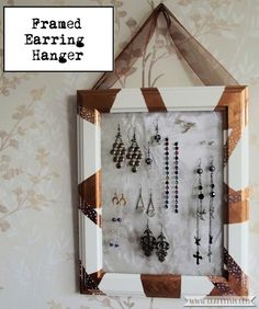Want a great way to display your beautiful earring collection? Make your own Framed Earring Hanger by following the easy instructions at Craftyism.com. | DIY | Tidy | How-to |