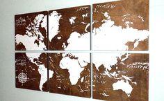 World Travel Push Pin Map from Cedar Workshop - Blue Moon Gift Shops