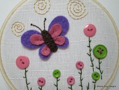 Purple and Pink Butterfly with Button Flowers and Embroidery, Hoop Art. $20.00, via Etsy.