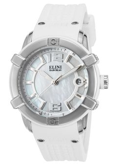 Elini Barokas Watches Spirit White Silicone Mother of Pearl Dial SS 20005-02-WHT,    #EliniBarokas,    #2000502WHT,    #Fashion